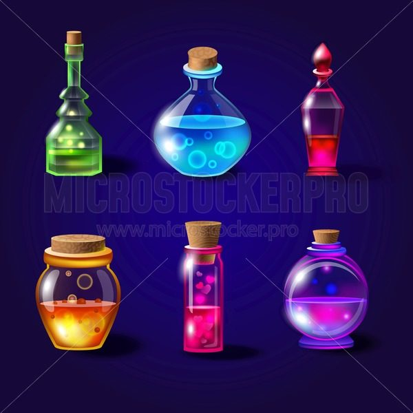 Set of realistic magical bottles with poison. Vector potion bottles set with transparent glass for game interface in fantasy style. Magical liquid potions vector illustration - Vector illustrations for everyone | Microstocker.Pro