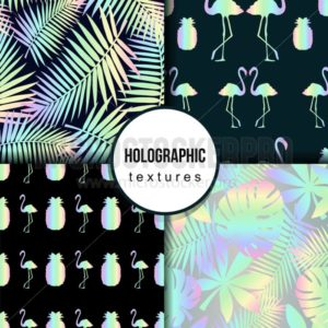 Set of summer seamless patterns with tropical leaves, flamingo,pineapple and holographic effect. Colorful summer print for textile, cards, posters etc. Vector tropical illustration - Vector illustrations for everyone | Microstocker.Pro