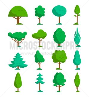 Set of summer trees with different leaves and shapes. Green trees set. Summer trees icon collection in flat style. Vector illustration - Vector illustrations for everyone | Microstocker.Pro