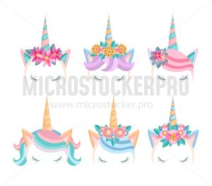Set of unicorn faces with flowers and lashes. Unicorn tiaras in flat style. Cute unicorn heads isolated on white background. Vector illustration - Vector illustrations for everyone | Microstocker.Pro