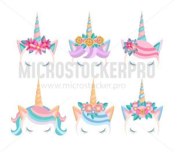 Set of unicorn faces with flowers and lashes. Unicorn tiaras in flat style. Cute unicorn heads isolated on white background. Vector illustration - Vector illustrations for everyone   Microstocker.Pro