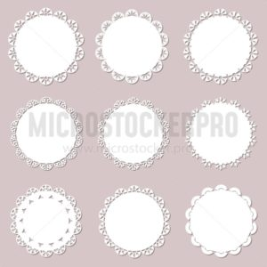 Set on vintage doilies on craft paper background. Lace paper cutout for napkins, laser cut. Vector illustration - Vector illustrations for everyone | Microstocker.Pro