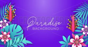 Summer background with tropical leaves and flowers. Floral poster for summer party, greeting card or invitation. Vector illustration - Vector illustrations for everyone | Microstocker.Pro