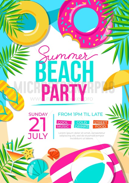 Summer beach party poster. Summer party colorful invitation. Vector summer background - Vector illustrations for everyone | Microstocker.Pro