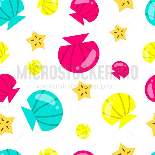 Summer colorful pattern. Summer background with seashells, starfish and white background. Cute vector vacation and sea background. - Vector illustrations for everyone   Microstocker.Pro
