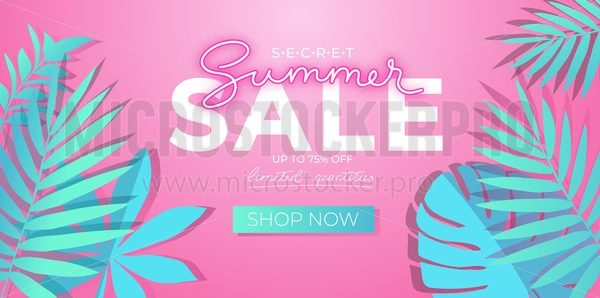 Summer sale banner with neon effect and tropical leaves. Trendy clearance banner design. Summer discounts design template. Vector illustration - Vector illustrations for everyone | Microstocker.Pro