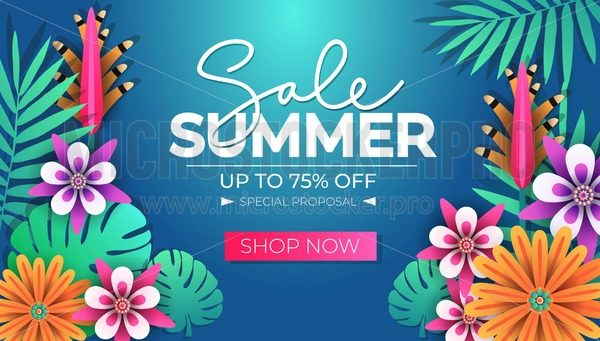 Summer sale tropical banner design template with leaves and flowers. Summer discounts. Seasonal clearance banner design. Vector illustration - Vector illustrations for everyone | Microstocker.Pro