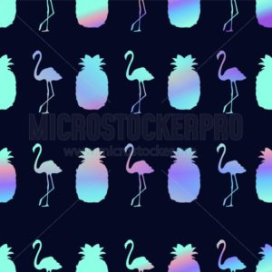 Summer seamless pattern with flamingo, pineapple and holographic effect. Colorful summer print for textile, cards, posters etc. Vector tropical illustration - Vector illustrations for everyone | Microstocker.Pro