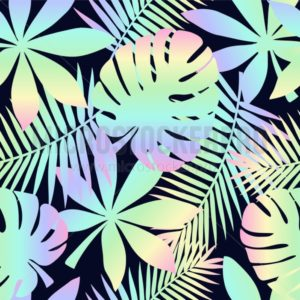 Summer seamless pattern with tropical leaves and holographic effect. Colorful summer print for textile, cards, posters etc. Vector tropical illustration - Vector illustrations for everyone | Microstocker.Pro