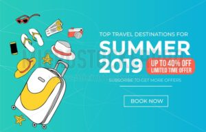 Summer travel banner template. Vacation discount poster for travel agency or promotion. Travel sale banner. Vector illustration - Vector illustrations for everyone | Microstocker.Pro