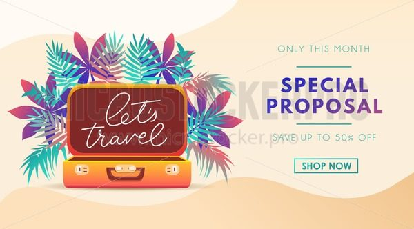 Travel poster template for travel agency, flyer, banner or print. Summer Vacation design template. Tropical illustration with leaves, lettering and suitcase. Vector illustration - Vector illustrations for everyone | Microstocker.Pro