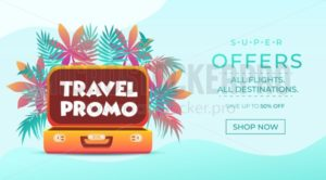 Travel promo banner. Vacation poster design. Travelling and tourism web banner concept. Summer background with Tropical leaves and suitcase. Vector travel illustration - Vector illustrations for everyone | Microstocker.Pro