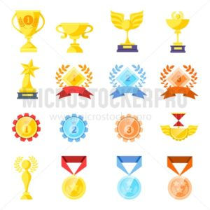 Trophy medals and cups set isolated on white background. Cartoon trophy elements for games, web, icons, packages etc. Vector illustration - Vector illustrations for everyone | Microstocker.Pro