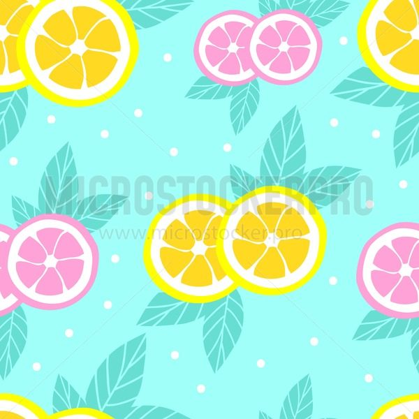 Tropical pattern with lemons in flat style. Sweet and colorful summer background. Vector illustration - Vector illustrations for everyone | Microstocker.Pro
