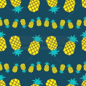 Tropical pattern with pineapples in flat style. Sweet summer background. Vector pineapple illustration - Vector illustrations for everyone | Microstocker.Pro