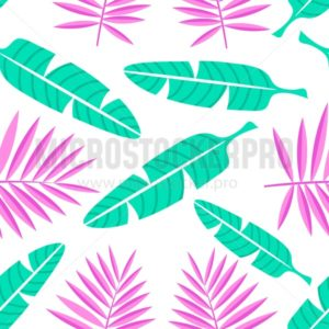 Tropical summer background in flat style. Palm leaves pattern. Vector illustration - Vector illustrations for everyone | Microstocker.Pro