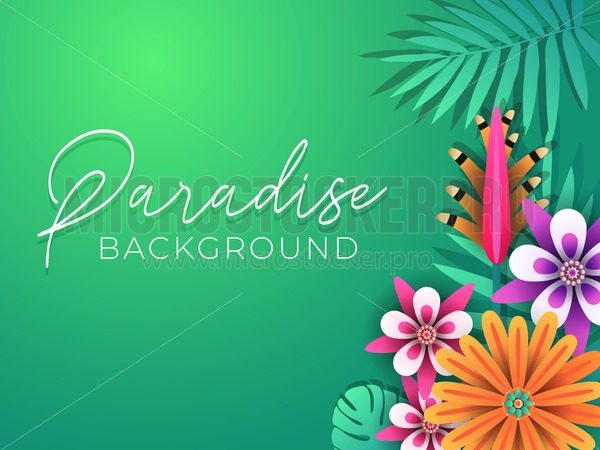 Tropical summer background. Tropical leaves and flowers design. Summer vector illustration design. - Vector illustrations for everyone | Microstocker.Pro