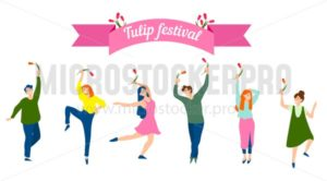 Tulip festival concept. Spring festival illustration with people in trendy style. People dance and hold tulip flowers. Spring vector illustration - Vector illustrations for everyone | Microstocker.Pro