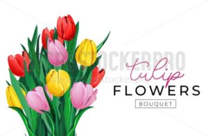Tulip flower bouquet background design. Spring floral background with red, yellow and pink tulips. Floral greeting card concept. Vector tuilps illustration - Vector illustrations for everyone | Microstocker.Pro