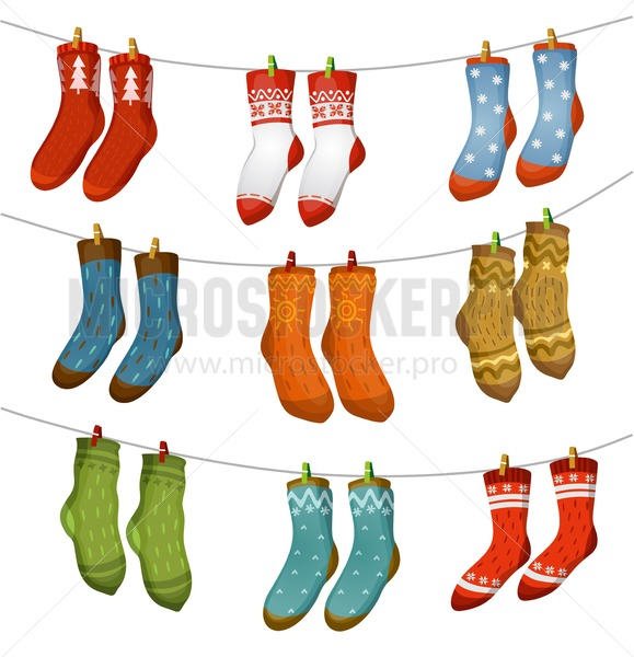 Ugly socks collection. Christmas socks for party, invitation, greeting card in cartoon style. Ugly sweater party elements. Vector Christmas decorations and clothing set. - Vector illustrations for everyone | Microstocker.Pro
