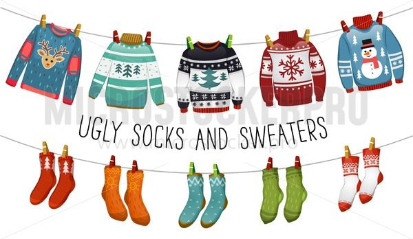 Ugly sweaters and socks collection. Christmas socks and swealers for party, invitation, greeting card in cartoon style. Ugly sweater party elements. Vector Christmas decorations and clothing set. - Vector illustrations for everyone | Microstocker.Pro