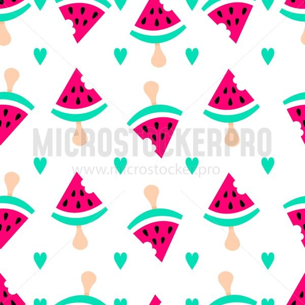 Watermelon flat pattern. Summer background with watermelon ice-cream and hearts. Cute vector sweet background. - Vector illustrations for everyone | Microstocker.Pro