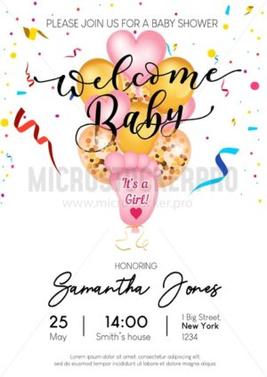 Welcome baby girl invitation design. Cute balloons baby footprints, heart shaped and golden balloons. Vector baby shower invitation - Vector illustrations for everyone | Microstocker.Pro
