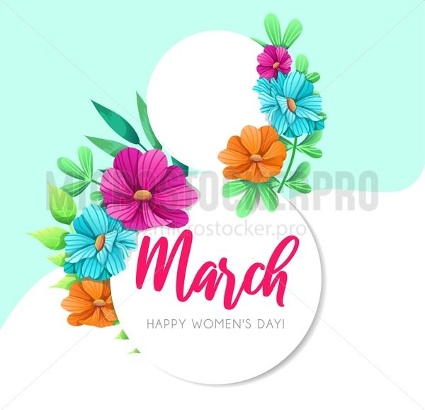 Women's Day greeting card with flowers. Floral spring design concept. Vector illustration - Vector illustrations for everyone | Microstocker.Pro
