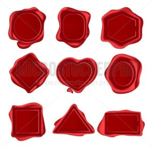 wax seal stamps set isolated on white background. vector wax stamps for invitations, envelops. Decorative medieval post elements. Vector vintage seal wax set. - Vector illustrations for everyone   Microstocker.Pro