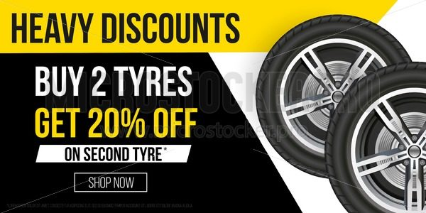Car tyres promotion banner. Realistic tyres with promo text for flyers, banners etc. Vector sale banner illustration - Vector illustrations for everyone | Microstocker.Pro