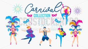 Carnival collection with festive people wearing different costumes. Costume party people. Carnaval people set. Vector illustration - Vector illustrations for everyone | Microstocker.Pro