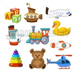 Cartoon baby toys set. Colorful and cute toys for little kid. Childhood objects airplane train ship animal helicopter submarine teddy bear etc. Preschool children games concept. Vector childhood icon set. - Vector illustrations for everyone | Microstocker.Pro