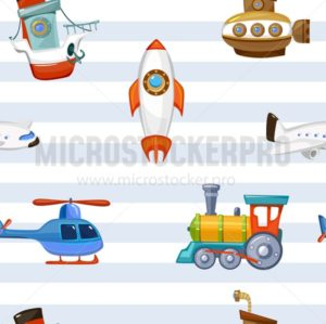 Cartoon baby toys wallpaper with striped background. Colorful and cute toys airplane train spaceship helicopter submarine. Preschool children design for textile, prints etc. Vector childhood pattern. - Vector illustrations for everyone | Microstocker.Pro