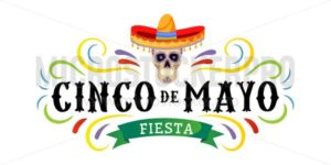 Cinco de mayo vector greeting card with scull, traditional mexican hat and flourish elements. 5 may mexican holiday colorful greeting card. Vector illustration - Vector illustrations for everyone | Microstocker.Pro