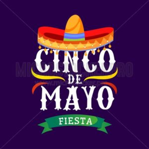 Cinco de mayo vector greeting card with traditional mexican sombrero and flourish elements. 5 may mexican holiday colorful greeting card. Vector illustration - Vector illustrations for everyone | Microstocker.Pro