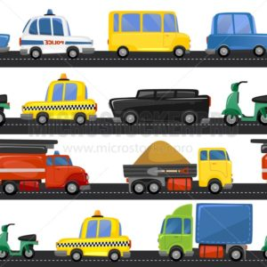 City transport seamless pattern with different types of vehicle and road.Funny city cartoon transport for prints, textile etc. Vector illustration - Vector illustrations for everyone | Microstocker.Pro