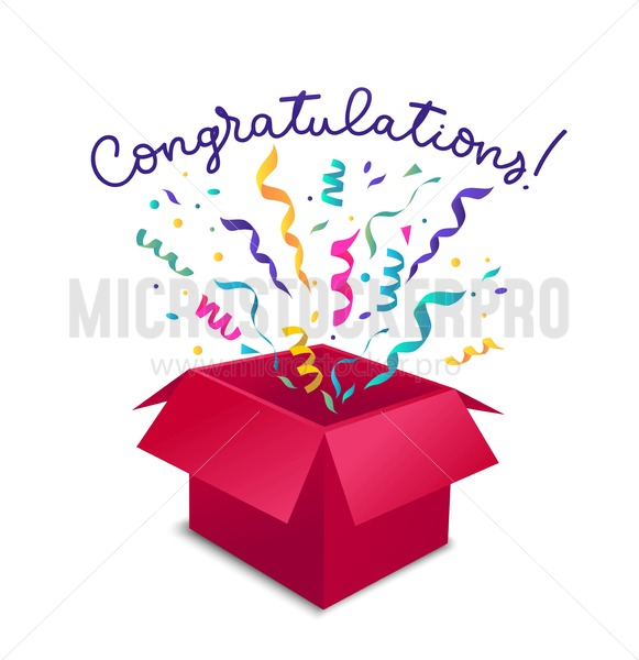 Congratulations greeting card with open gift box, ribbons and confetti isolated on white backgrouns. Vector gift concept. Suprise box illustration design. - Vector illustrations for everyone | Microstocker.Pro