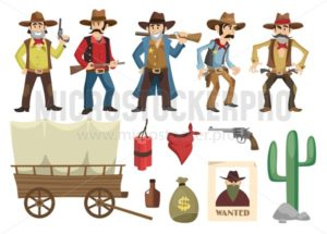 Cowboys set. Western retro people with different weapons and emotions isolated on white background. Vector wild west elements collection - Vector illustrations for everyone | Microstocker.Pro