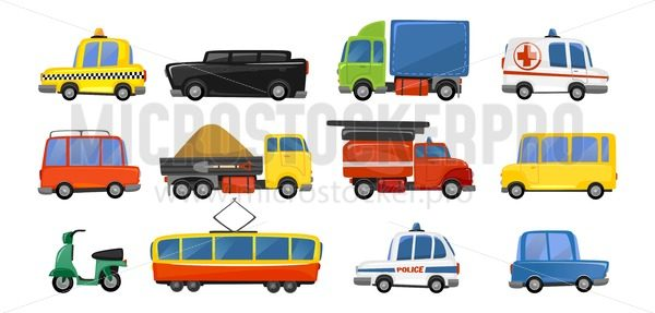 Funny city transport objects in trendy cartoon style. Vector public transport collection. ambulance fire-engine police taxi motorbike car tram isolated on white background. Colorful vector vehicle collection - Vector illustrations for everyone | Microstocker.Pro
