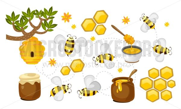 Honey and bee vector collection. honeycombs, jars with honey and bees colorful set. Vector beekeeping illustration - Vector illustrations for everyone | Microstocker.Pro
