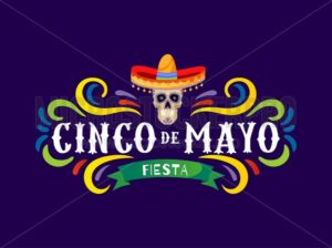 Mexican holiday card Cinco de Mayo 5 may. Decorative and traditional mexican elements skull, sombrero. Vector greeting card - Vector illustrations for everyone | Microstocker.Pro