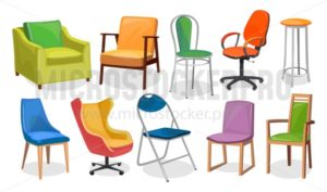 Modern chair furniture collection. Comfortable furniture for apartment interior or office. Colorful cartoon chairs set isolated on white background. Vector illustration - Vector illustrations for everyone | Microstocker.Pro