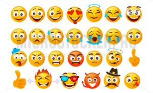 Set of smiley emoticons. Vector faces with different emotions isolated on white background. Vector smileys face - Vector illustrations for everyone | Microstocker.Pro