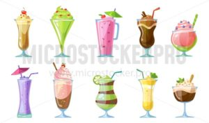 Summer milkshake collection.Delicious non-alcoholic cocktails and milkshakes isolated on white background. Chocolate, strawberry, banana, kiwi,berries beverages. Fruit smoothies vector set. - Vector illustrations for everyone | Microstocker.Pro