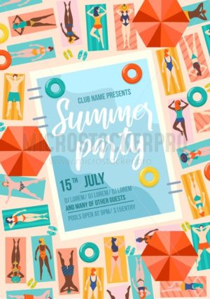 Summer party trendy poster with pool and people. Summer sale or invitation design template. People on vacation travel concept.Vector illustration - Vector illustrations for everyone | Microstocker.Pro