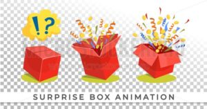 Surpise box animation vector illustration. Vector red box with coins, confetti and ribbons. Festive surprise box for ui, web, print design etc. Vector box set with confetti. - Vector illustrations for everyone | Microstocker.Pro