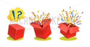 Surpise box animation vector illustration. Vector red box with coins, confetti and ribbons. Sale and discount surprise box for ui, web, print design etc. Vector box set with confetti. - Vector illustrations for everyone | Microstocker.Pro