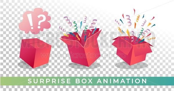 Surpise box animation vector illustration. Vector red box with confetti and ribbons. Festive surprise box for ui, web, print design etc. Vector box with confetti. - Vector illustrations for everyone | Microstocker.Pro