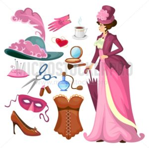 Victorian lady fashion collection in cartoon style. Vintage clothing set corset,shoes, hat, perfume, umbrella, sewing kit, cosmetics etc. Vintage women's fashion accessories. Vector cartoon illustration - Vector illustrations for everyone | Microstocker.Pro