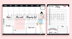 Weekly planner design with fashion elements and young women. Vector illustration - Vector illustrations for everyone | Microstocker.Pro